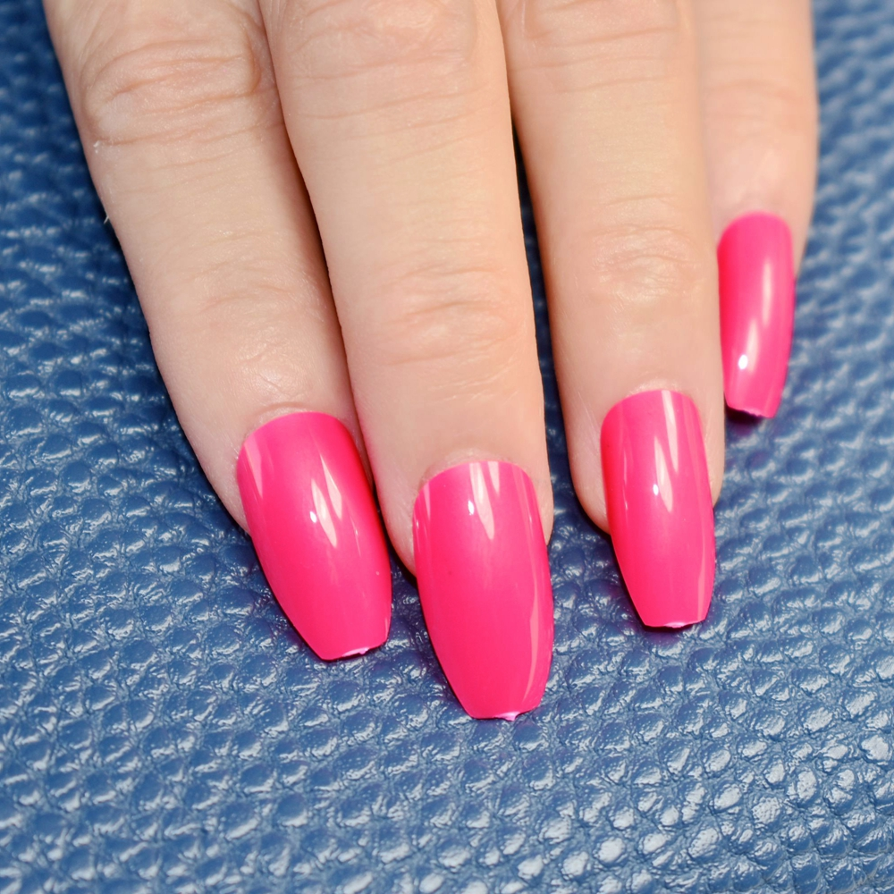 Acrylic Nails: 24pcs Hot Pink Coffin Long Nails False Nail Full Cover