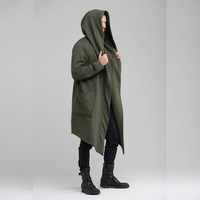 2018 Men's Jacket Solid Color Hooded Cardigan Shirt Mens Trench Coat Jacket Long Jacket Men Harujuku Mens Coats Abrigo Hombre