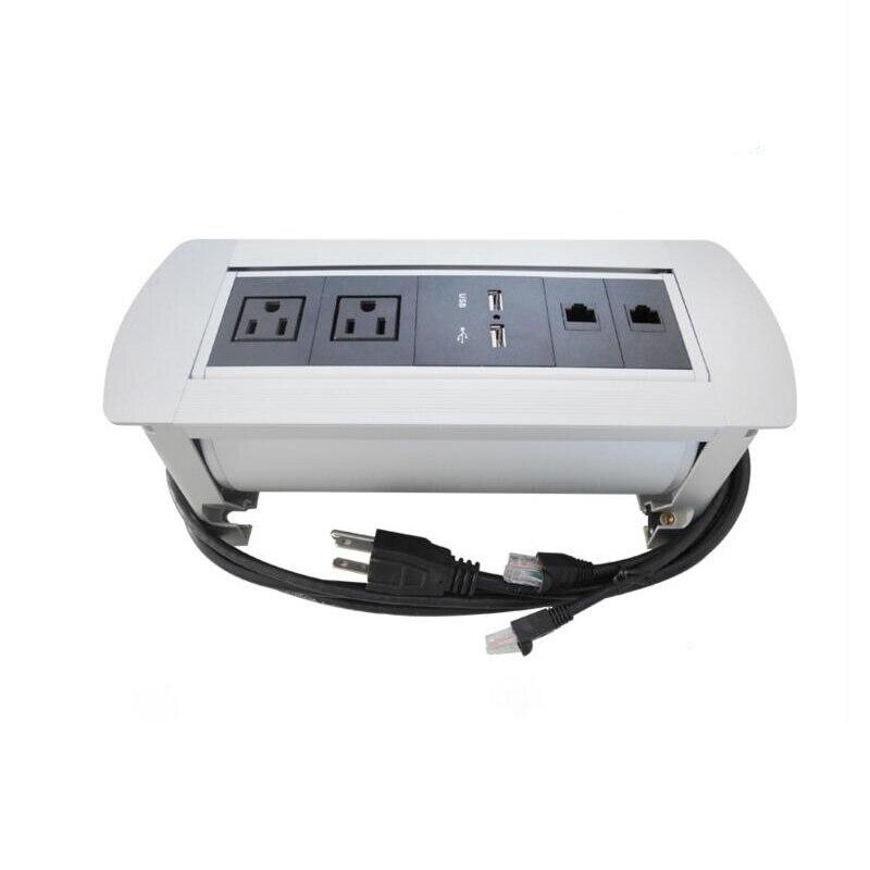 Prise de retournement électrique prise de table manuelle 2 prises universelles + 2 Rotation du chargeur USB 180 degrés conception cachée de bureau