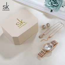 Watch Rose Gold Women Jewelry Set 2019 SK Women Watches Earrings Necklace Set Valentine's Day Gift