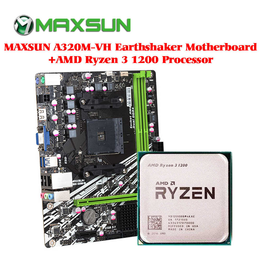MAXSUN A320M-VH Earthshaker Motherboard AM4 AMD Ryzen 3 1200 processor ram ddr4 memory SATAIII ssd PCI-E graphics card mainboard