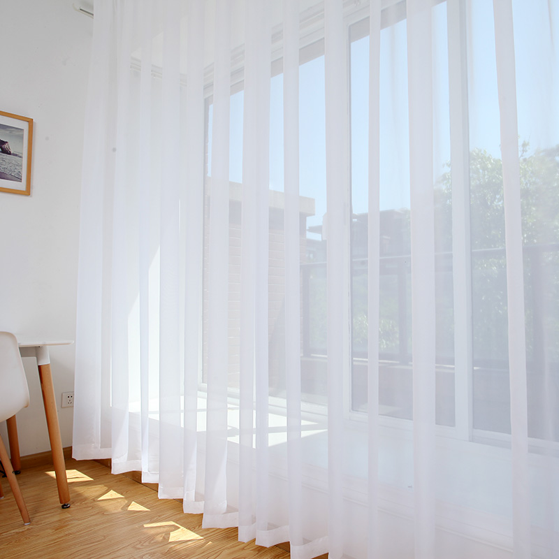 White Sheer Voile Curtains Tulle Curtains Home Window Decoration For Living Room Bedroom Single Panel Drapes