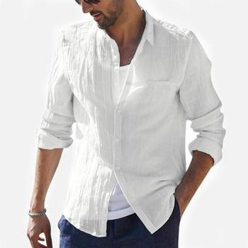 Taglie forti: nuova camicia da uomo estiva, lino di cotone largo, camicie lunghe retrò - Plus Size - New Summer Men Shirt, Baggy Cotton Linen, Retro long Shirts, camisa masculina 1