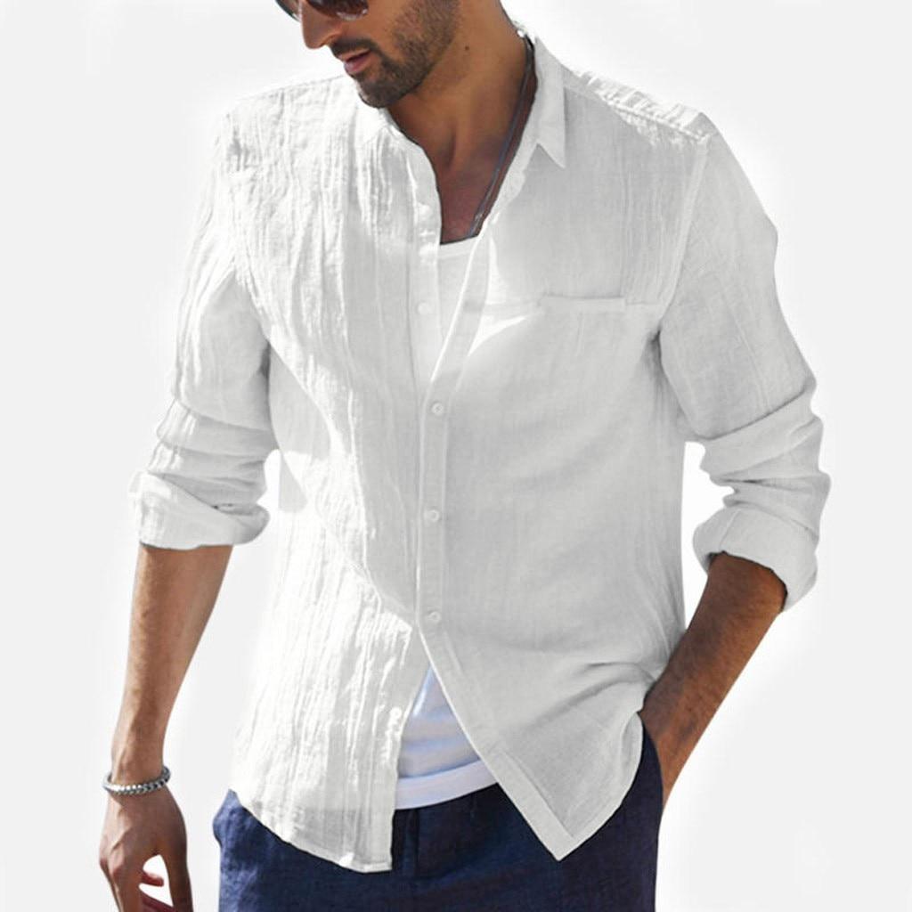 2019 Plus Size Summer New Men Shirt Baggy Cotton Linen Solid Long Sleeve Button Retro Long Shirts Tops S-2XL Camisa Masculina