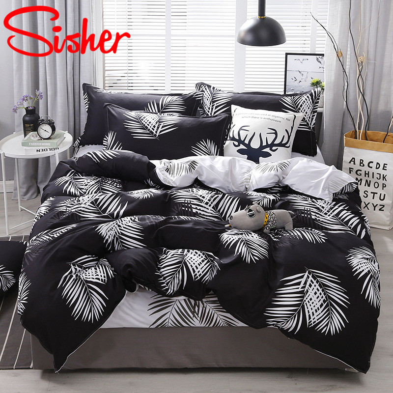 Nordic Bed Linens White Leaf Duvet Covers Set Simple Plant Print Bedding Sets Cover Adult Single Double Queen King Bedclothes