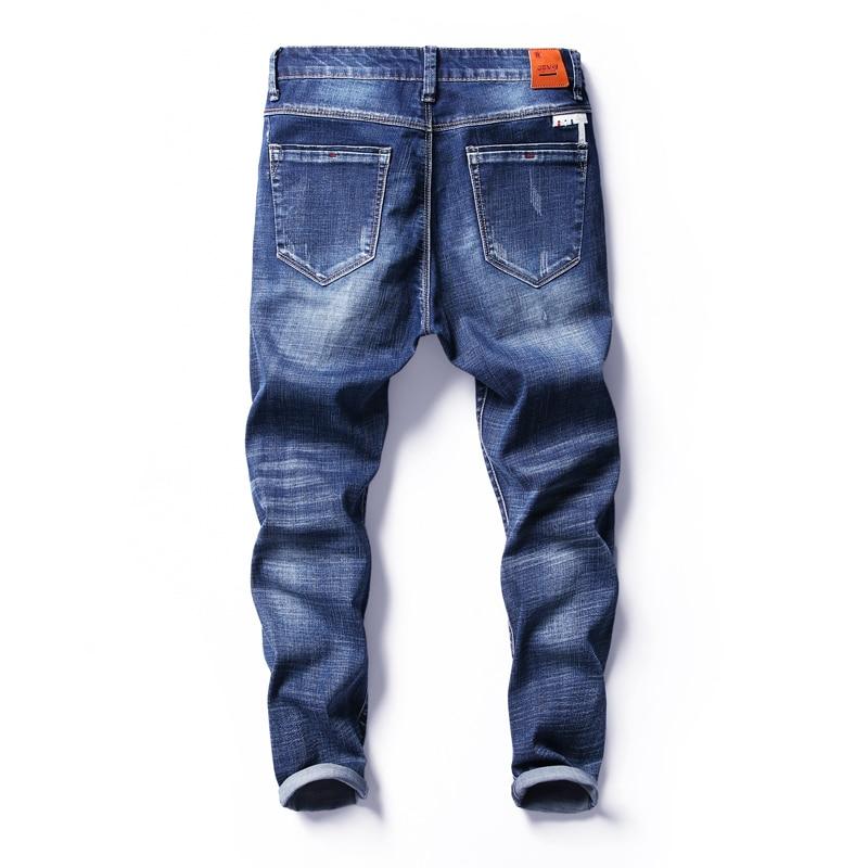 K4HA K4HA Men's Four Seasons Scratched Nine Jeans Male Fashion Stretch Ankle-Length Pants Men Casual Slim Cotton Denim Trousers