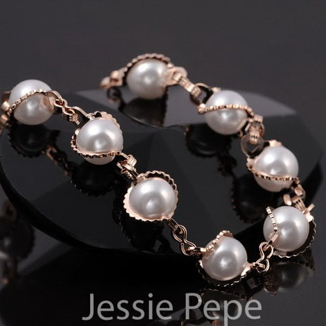 Italina Rigant New Arrival Simulated Pearl Braceletes Pulseiras With Rose Plated Gold Austrian Crystal Stellux  #JP31323