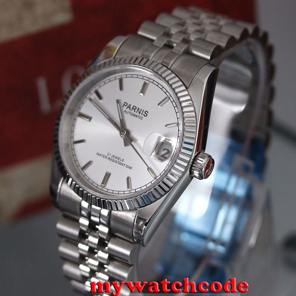 лучшая цена 36mm parnis silver dial 21 jewels miyota automatic Luxurious mens watch P788