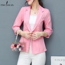 PinkyIsBlack 3/4 Sleeve Cotton Linen Ladies Blazer Women Suit jacket Female Feminine Summer Pink Blue White Black