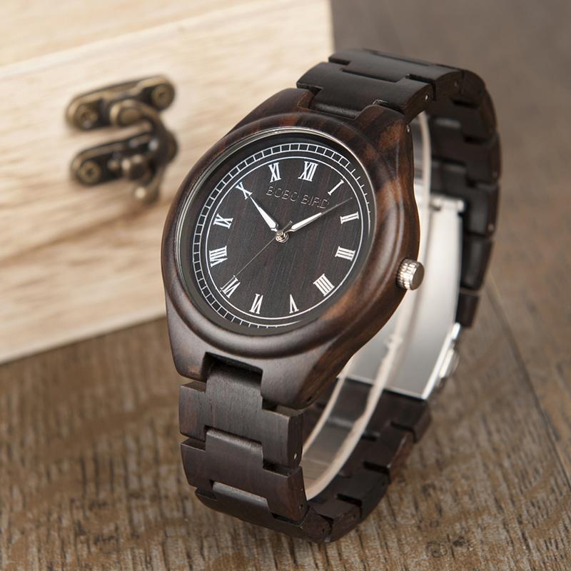 BOBO BIRD WO18O19 Men Ebony Zebra Wooden Watches 16