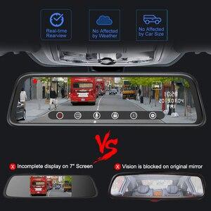 Image 4 - Junsun H16 New Tech 2.5D FHD 1296P Потоковое мультимедиа зеркало заднего вида DVR с двойным объективом, видеорегистратор с 10 дюймовым IPS монитором ночного видения и парковочным монитором