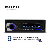 12V Automotive 1Din bluetooth Car Radio MP3 FM receiver USB SD with hands free remote control aux in 4X60W output power
