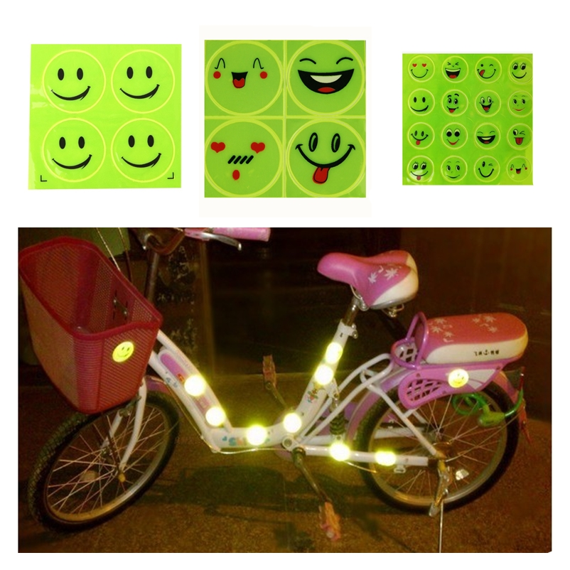 Image 2 - 2Sheet/Set Funny Reflective Bicycle Bike Sticker Smiling Face Pattern Night Riding Decal Night Riding Roadway Safety Sticker-in Reflective Material from Security & Protection