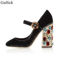 Gullick Mary Janes Velvet High Heel Shoes Crystal Diamond Chunkly Heels Pumps For Women Ankle Strap Thick Heel Dress Shoes