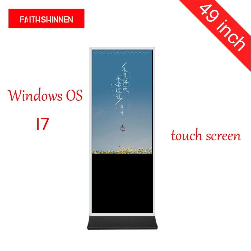 Affichage numérique de kiosque d'information de signage d'écran tactile de totem de publicité de 49 pouces Windows I7