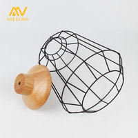Lampshade Wooden lamp shade Selected Metal Wire Frame Ceiling Lamp Pendant Light covers Restaurant Bedroom Household