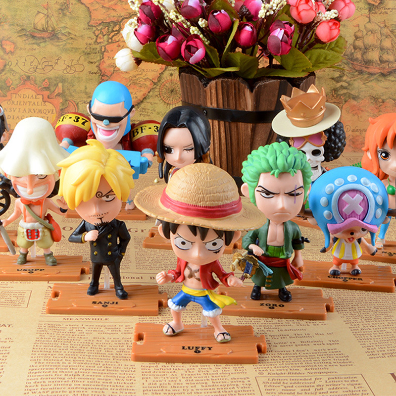 One piece Luffy Zoro Chopper Sanji A full set of dolls action figure One piece 68 generation car furnishing articles 8cm-12cm a cat a hat and a piece of string