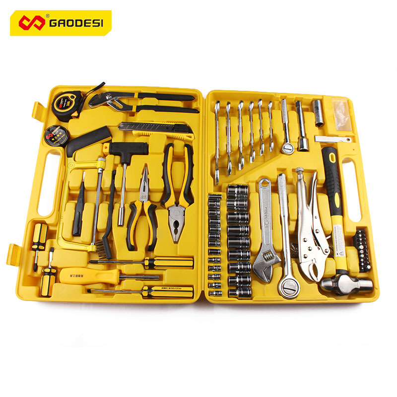 80 pcs Household Tool Set Water Pump Pliers Utility Knife Screwdriver Combination Clamp Steel Measuring Tape Adjustable Wrench multifunction household composition tool tape measure pliers utility knife family tool kit