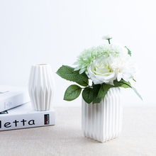 White Ceramics Origami vase wide mouth creative simple small  flower vases for home wedding decoration tabletop