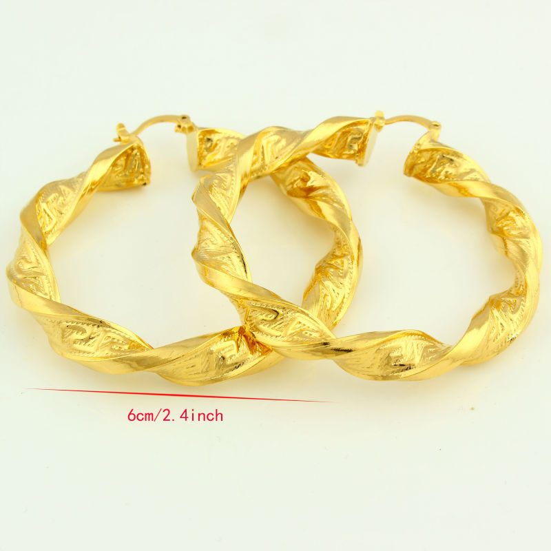 Thick Size African Gold Earrings Women Gold Color Hoop Earring ...