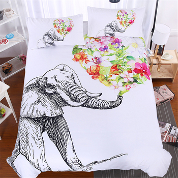 3Pcs Animal White Brand Bedding Sets Elephant 3D Luxury Duvet Cover Comforter Cover Queen King full Twin Size flowers bedclothes