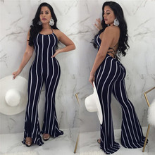 Ladies Fashion 2019 New Women Jumpsuit Clubwear Flare Wide leg Party Sexy lace up Trousers Jumpsuit