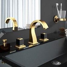 Смесители для раковины, кран для раковины, латунь, Золотая краска, 3 отверстия, двойная ручка, роскошный кран для ванны, краны для ванны, смеситель для горячей и холодной воды