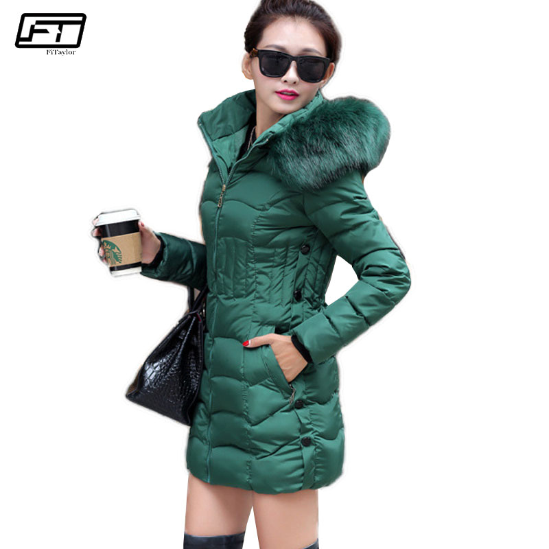 Fitaylor 2017 Warm Winter Women Jacket Long Paragraph Cotton Hooded Fur Parkas Mujer Solid Coat Pus Size Female Coats fitaylor winter jacket women coats plus size thick cotton coat hooded parkas women winter coat warm long 3xl 4xl 5xl overcoat