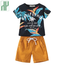Toddler Boy Clothes Summer Cartoon Printed Short Sleeve Tshirt + Shorts 2pcs/sets Sport Suit Children Tracksuits 2 3 7 Years