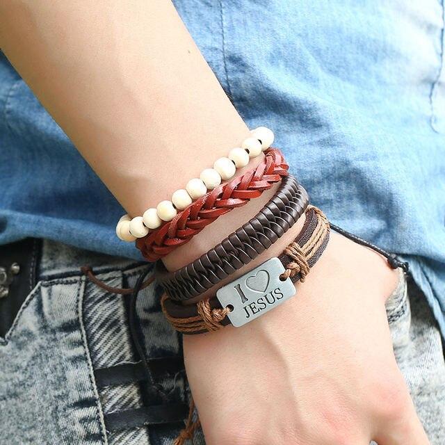 6 шт/компл набор женских и мужских кожаных браслетов ручной