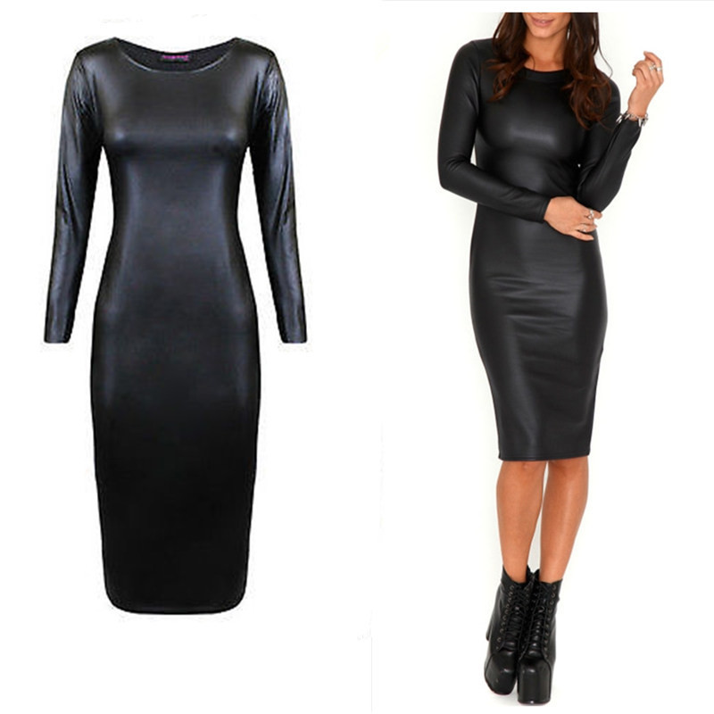 New 2018 Black Sexy Faux Leather Bandage Sheath Dresses Bodycon Summer Long Sleeve Zipper Cocktail Party Womens Midi Dress Women's Clothing