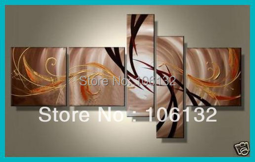 Framed 5 Panel Large High End Brown Abstract Painting Canvas Picture ...