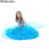 Principessa Anna Elsa Dress Cosplay Su Kids Princess Dress Paillettes Cotone Costume Neonate Vestono Abiti Per Bambini