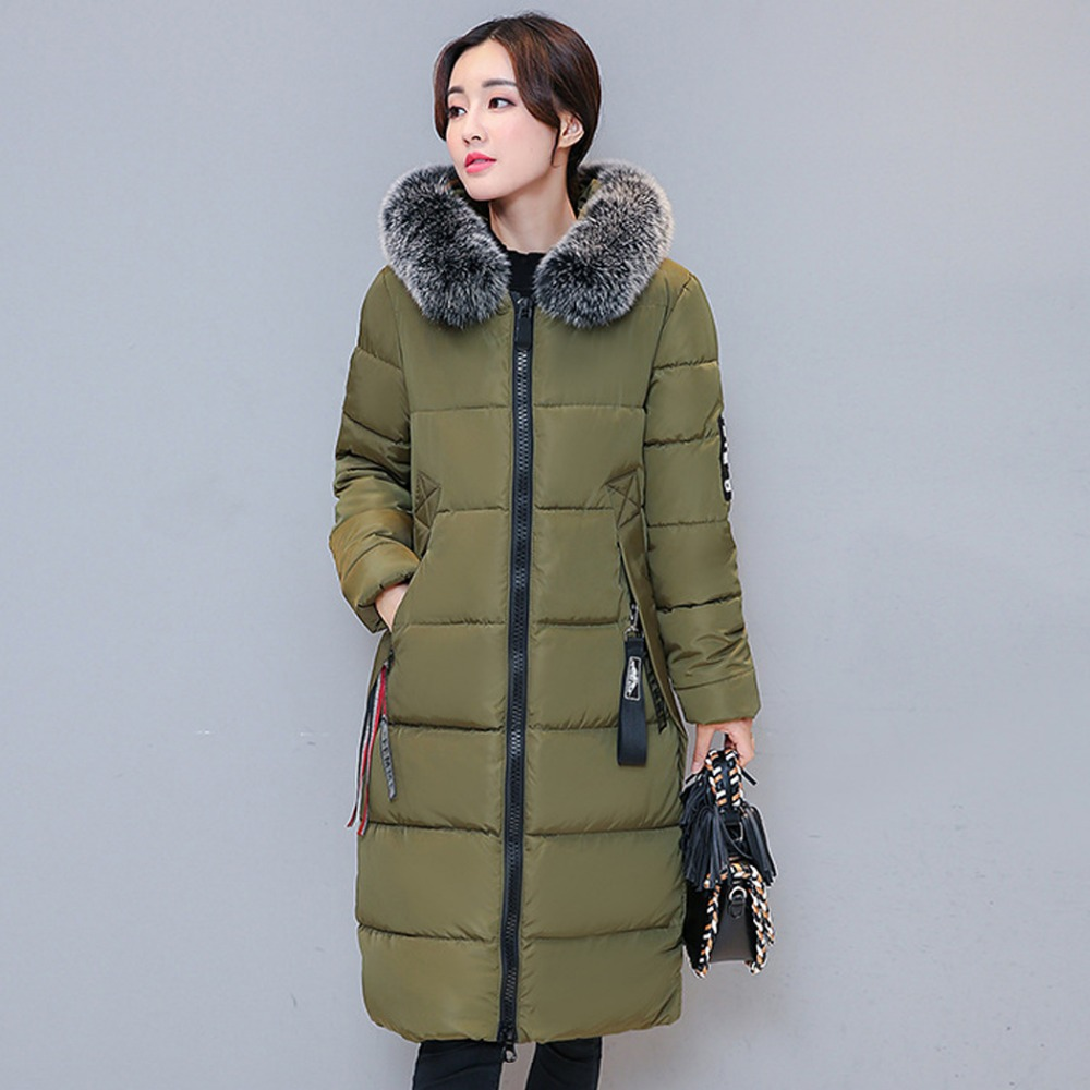 2993e4c3c Long Oversized Womens Padded Coats Real Fur Collar Hooded Parka Fourrure  Femme Plus Size Ladies Thick Warm Puffer Jacket 3XL-in Parkas from Women's  ...