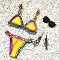 Mayo Kadın Şeker Hit Renk El Yapımı Örme Şık Bayanlar Bikini Setleri Seksi Bölünmüş Plaj maillot de bain femm Giymek Y13