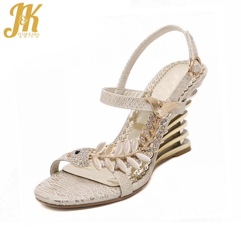 2017 Summer New Rome Style Women Sandals Ankle Strap Rhinestone Metal Charm Shoes Woman Wedges High