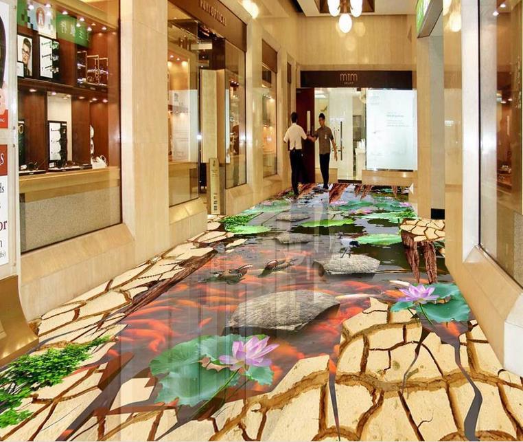 Custom vinyl vloeren badkamer mural lotus loopbrug 3d pvc vloeren ...