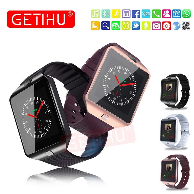 02f96571f33 GETIHU DZ09 Relógio Inteligente de Pulso Digital com Homens Eletrônicos Bluetooth  Cartão SIM Esporte Smartwatch Para iPhone Samsung Android Phone