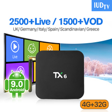 IP TV Spain Italy Sweden 1 Year IPTV Android 9.0 TX6 4+32G BT5.0 Dual-Band WIFI IUDTV Full HD German UK Android 9.0 IP TV Box sweden iptv box tx9 pro s912 android 7 1 3gb 32g android tv box nordic israel nertherland world ip tv 5000 channels smart tv box