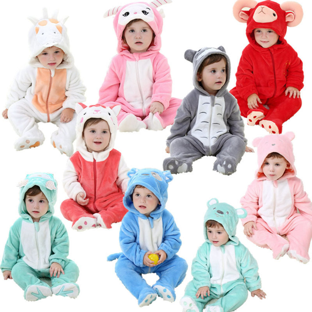 Newborn Baby Romper Infant Costume Spring Cartoon Animal Flannel Hooded Baby Jumpsuit Clothes Toddler Romper Baby Costume Suit cartoon rabbit bear baby romper children clothes spring toddler jumpsuit newborn infant clothing wear roupas de bebes