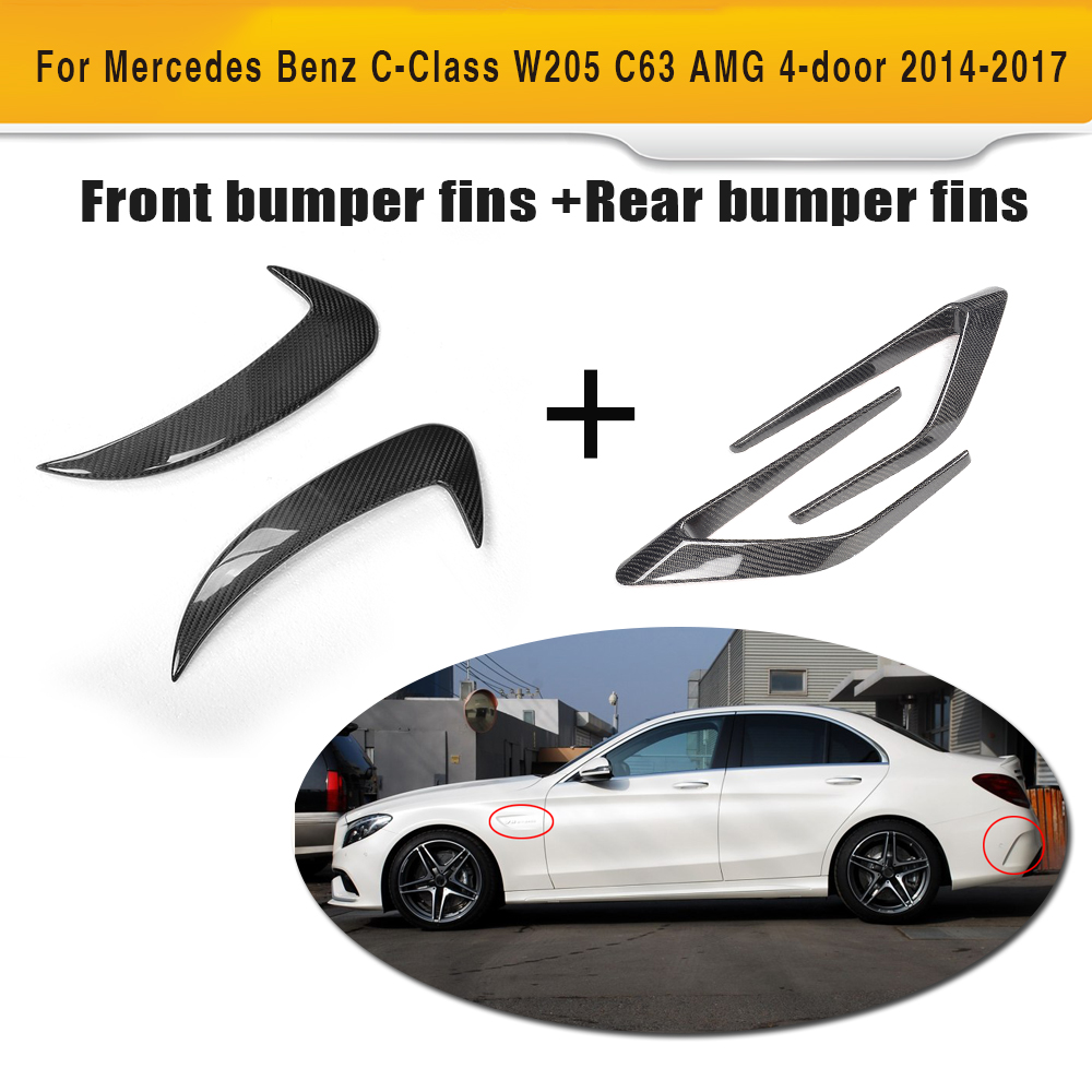 US $170 0 15% OFF|C Class Carbon Fiber Front Fender Vents Scoops and Rear  bumper Side Wing for Mercedes Benz W205 C63 AMG S Sedan 4 Door 14 17-in