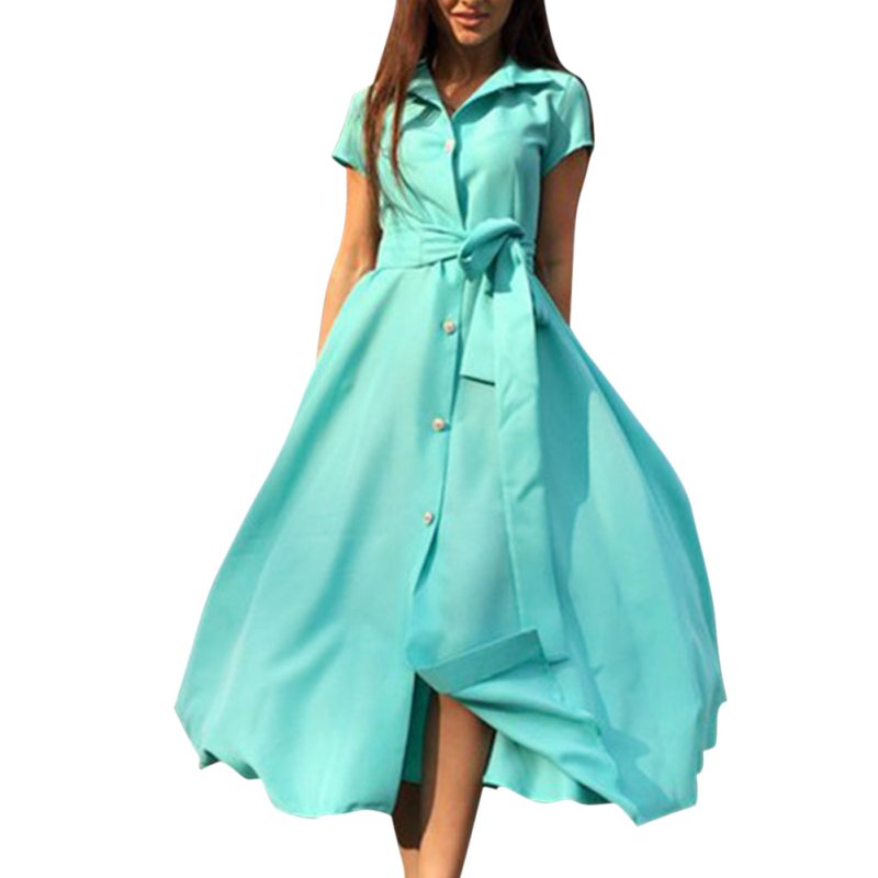 Plus Size Women Long Dress Silm Solid Short Sleeve Dress With The Belt Shirt Dress