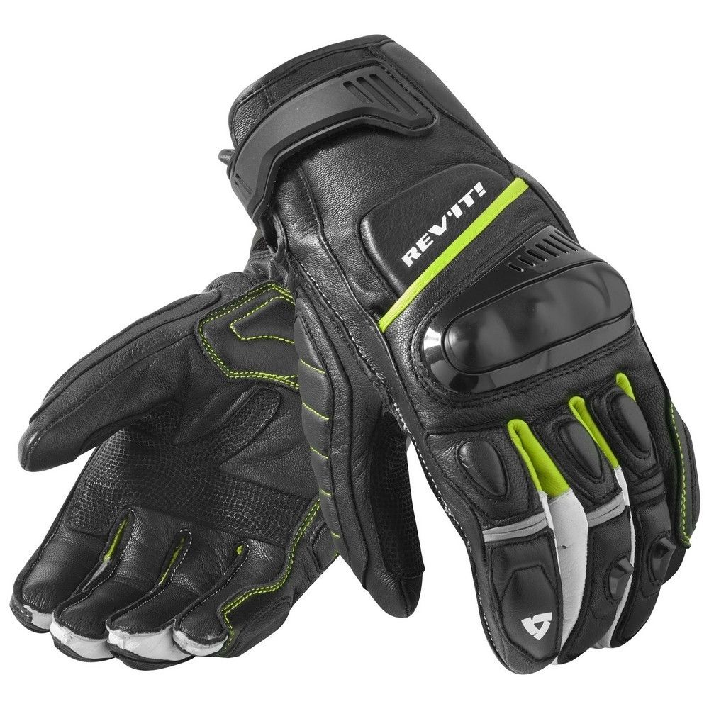 NEW 2019 Revit Chicane Black / Neon Yellow Motorcycle Street Style Glove Racing Gloves Genuine Leather Motorbike Gloves