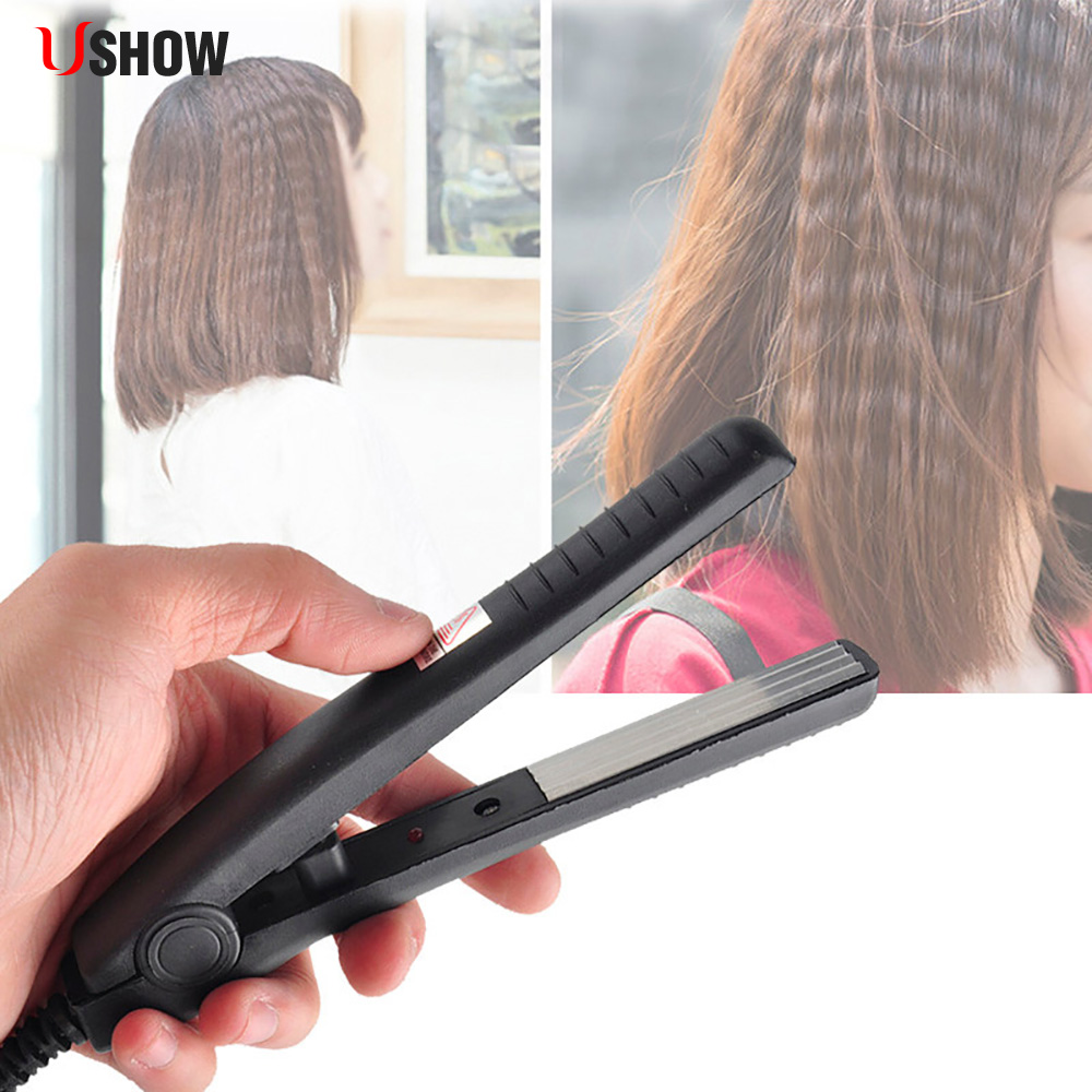 USHOW Electric Hair Straighteners Flat Iron Corrugated Iron Hair Crimper Corn Plate Mini Ripple Styling Corrugation Styling Tool ushow portable hair straightener hair styling straighteners 2 in 1 flat hair straightening irons corrugation hair soldering iron