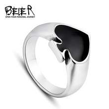 Black Cool Spade Lucky Ring For Man And Woman High Quality Stainless Steel Oil Painting No Fade Jewelry Gothic BR8-209(China)
