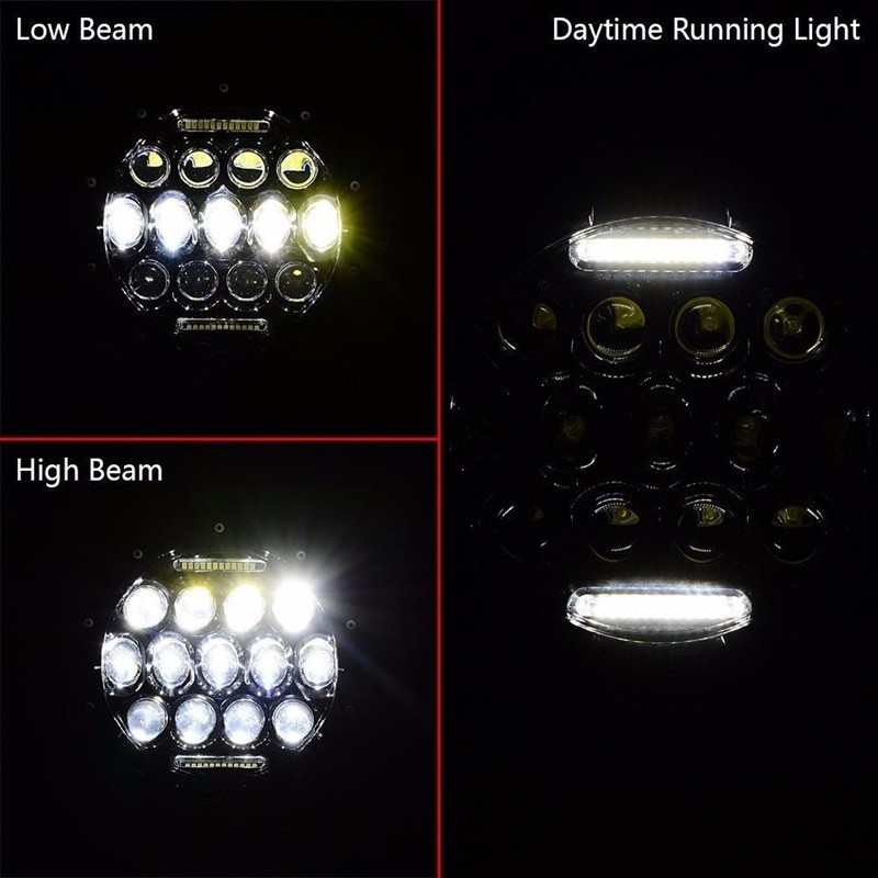 7 Inch 75W Dual Beam Phillips LED Headlight with White DRL For  1