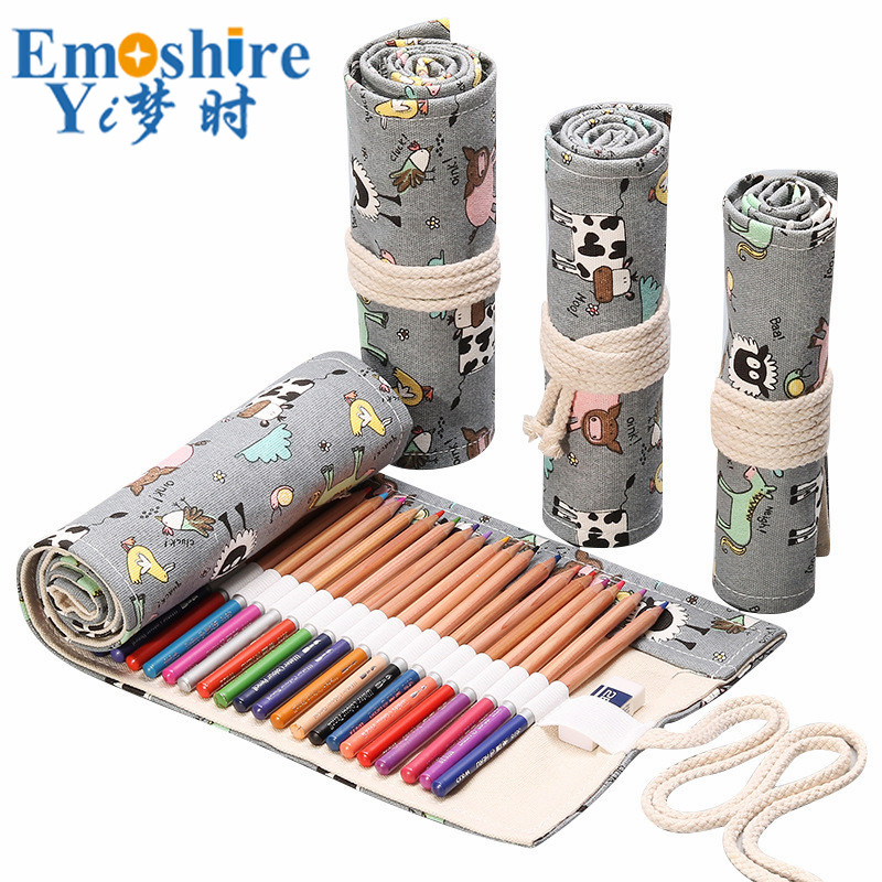 Top Brand Kawaii Pencil Case Gray Cow Cartoon Canvas Wrap Roll Up Pencil Case Pen Brush Bag Pen Wrap for Stationery Gifts B320 magnetic buckle up pencil case