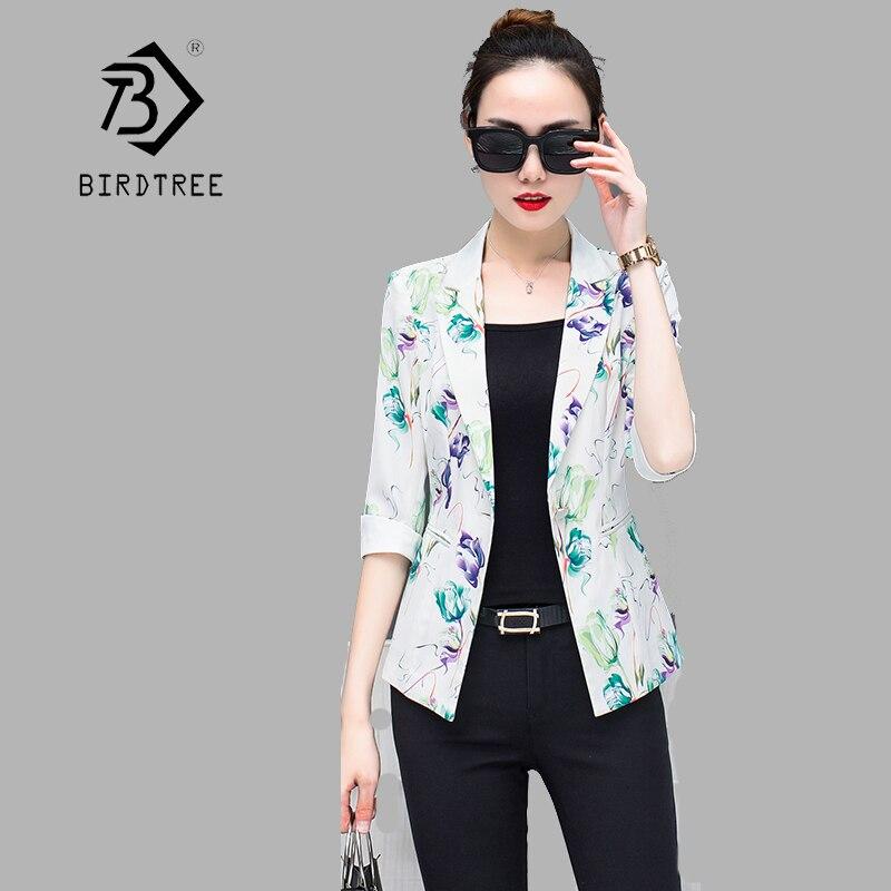 2018 Summer New Arrival Women Blazers Print 3/4 Sleeve Single Button Korean Style Slim Plus Size 4XL short Coat Hot C84013X