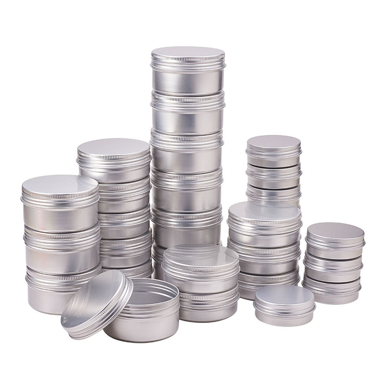 50pcs/lot 5g 10g 15g 20g 30g 40g 50g 60g Aluminum Jars Empty Cosmetic Makeup Cream Lip Balm Gloss Metal Aluminum Tin Containers 100g ml black empty aluminum cream containers capsules refillable metal case empty aluminum cosmetic mask storage tin jars