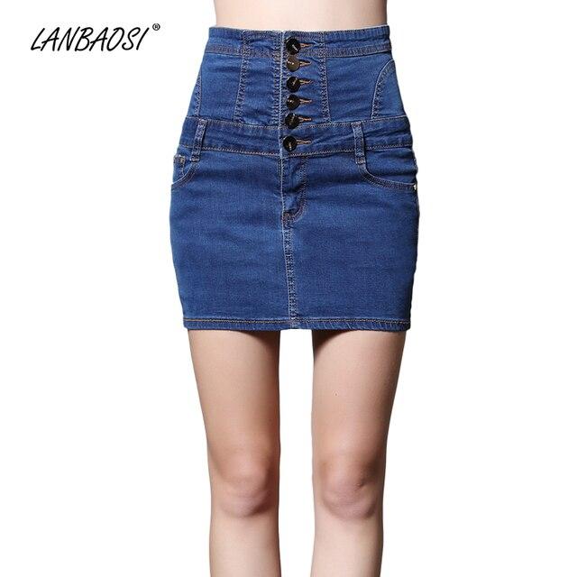 Lanbaosi sexy minifalda de mezclilla para las mujeres Paquetes cadera alta  cintura mini Vaqueros vaquero falda 87bfe6918c36